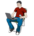 blogging man vector image vector image