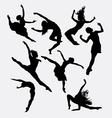 Contemporary dancer pose silhouette vector image