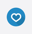 heart Flat Blue Simple Icon with long shadow vector image