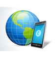 Mobile phone and globe icon vector image
