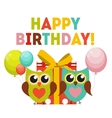 Cute Owl Happy Birthday Background with Gift Box vector image vector image