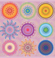 a set of 9-colored mandalas vector image