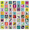 Colored signs icons used in transportation means vector image vector image