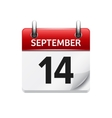 September 14 flat daily calendar icon vector image