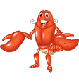 Cartoon happy lobster presenting isolated vector image