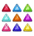 Funny cartoon colorful triangle shape gems vector image