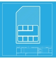 Sim card sign White section of icon on blueprint vector image