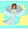 Cartoon funny angel man mascot vector image