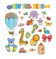 Set of funny doodle toys stickers vector image