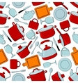 Seamless cooking utensils and tableware pattern vector image