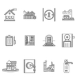 Black outline icons for rent real estate vector image