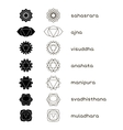 Chakras icons black and white vector image