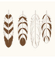collection differents feathers free spirit vector image