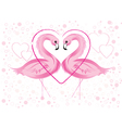 flamingos and hearts vector image