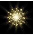 Golden glitter texture splash on black background vector image