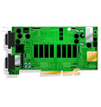 Green graphics card circuit board on white vector image