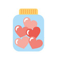 mason jar bottle with hearts vector image
