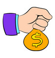money in hand icon cartoon vector image