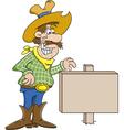 Cartoon Cowboy with a Sign vector image