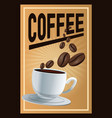 color poster coffee with linear glow and porcelain vector image