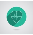 Defibrillator heart icon isolated on green vector image