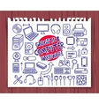 doodle computer hardware icons vector image