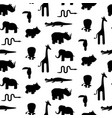 zoo animal silhouettes seamless pattern vector image