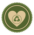 symbol green heart with ecolgy signal vector image vector image