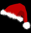 Santa Claus red hat isolated on black background vector image