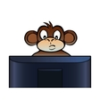 monkey behind screen vector image