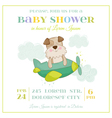 Baby Shower or Arrival Card - Baby Dog in a Plane vector image