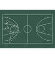 Realistic blackboard drawing a basketball game vector image