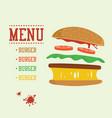 burger concept menu with burger ingredients flat vector image