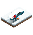 man with shovel cleaning snow filled backyard vector image