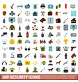 100 security icons set flat style vector image