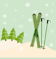 skis stick out of snow before a spruce invitation vector image