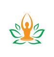 leaf nature yoga meditation logo vector image