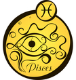 stylized zodiac signs in a yellow circle pisces vector image vector image