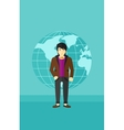 Businessman standing on globe background vector image