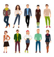 cartoon young fashion people vector image