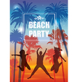 Exotic Banner with Palm Trees and People vector image