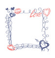 hand drawn doodle heart frame happy valentines day vector image