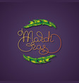 mardi gras greeting card feather and vector image