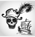 pirate skull with hat and pirate ship vector image