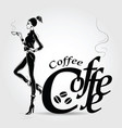 young pretty woman drinking coffee vector image