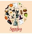 Halloween holiday cartoon horror in round sticker vector image