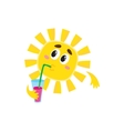 Thoughtful sun drinking cocktail isolated cartoon vector image vector image