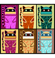 six colored fantasy cat pattern vector image vector image
