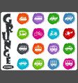public transport icons set in grunge style vector image
