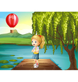 A girl standing above the wooden bridge with a hot vector image vector image